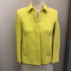 Bright yellow cropped textured swing jacket xs